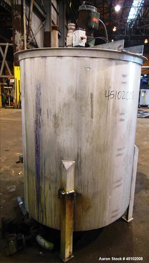 """Used- Haza Mechanical Tank, 458 Gallons, 316L Stainless Steel, Vertical, 48"""" Diameter x 59"""" straight side. Open top with (1)..."""