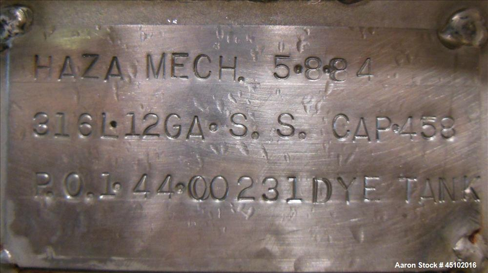 Used- 458 Gallon Stainless Steel Haza Mechanical Tank