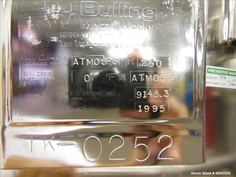 Used- 60 Gallon Stainless Steel MW Bulling Metal Works Tank, Model MBI610K55