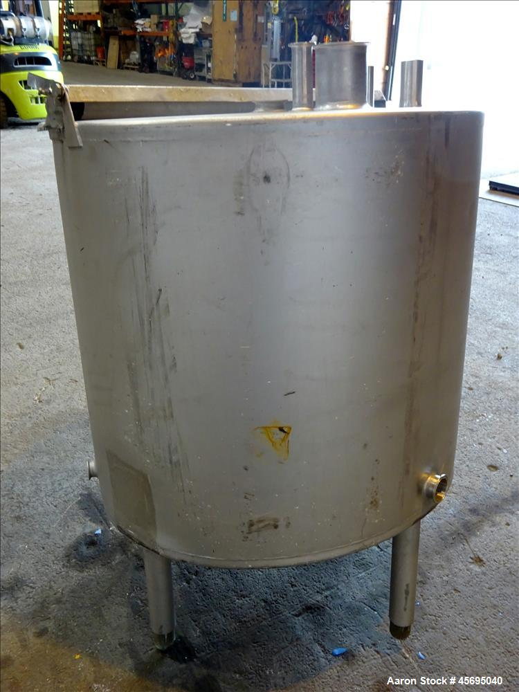 "Used- Tank, Approximately 140 Gallon, Stainless Steel, Vertical. 36"" Diameter x 34"" straight side, flat top, 1/3 hinged cove..."
