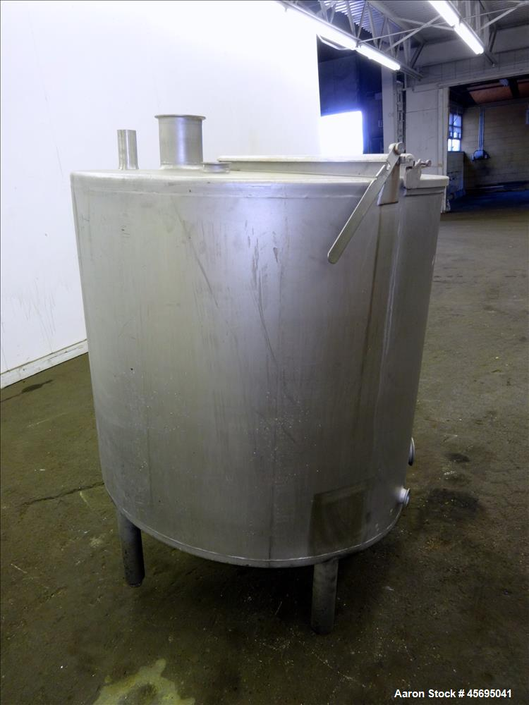"""Used- Tank, Approximately 140 Gallon, Stainless Steel, Vertical. 36"""" Diameter x 34"""" straight side, flat top with a 1/3 hinge..."""