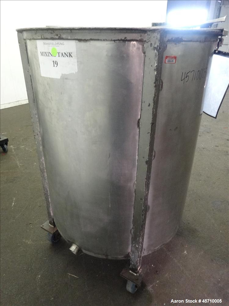 "Used- Tank, Approximately 200 Gallon, 304 Stainless Steel, Vertical. 37-1/2"" Diameter x 45"" straight side, flat open top wit..."