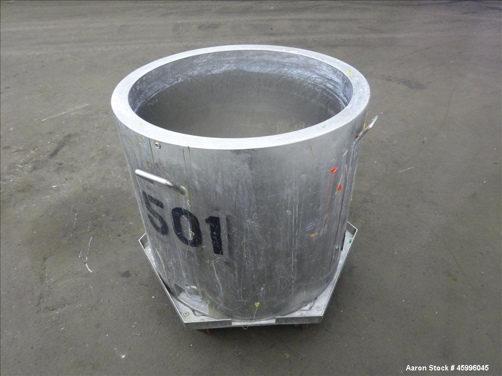 Used- Tank, Approximate 60 Gallon, 304 Stainless Steel, Vertical.