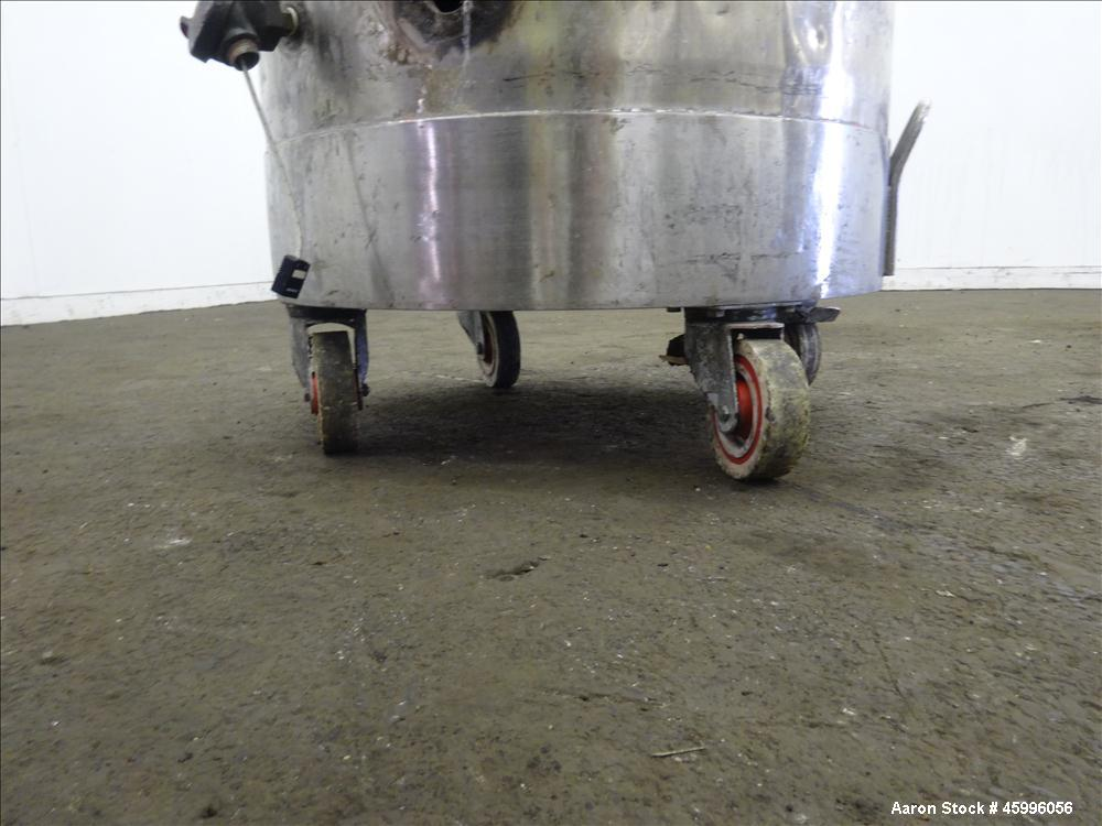 Used- Tank, Approximate 60 Gallon, 304 Stainless Steel, Jacketed, Vertical.