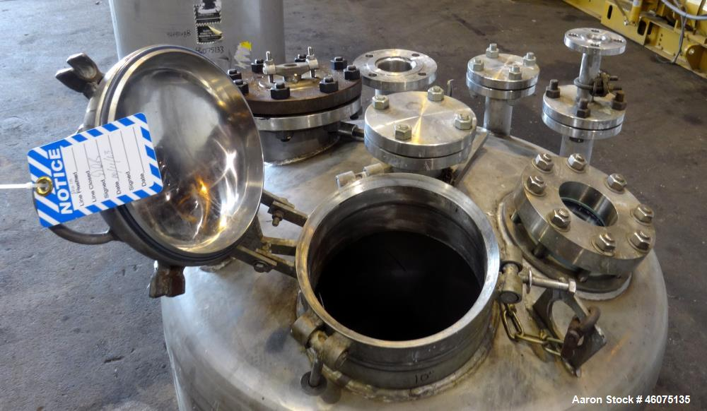 """Used- Tank, 200 Gallon, 316 Stainless Steel, Vertical. Approximate 36"""" diameter x 43"""" straight side, dished top & bottom. Of..."""
