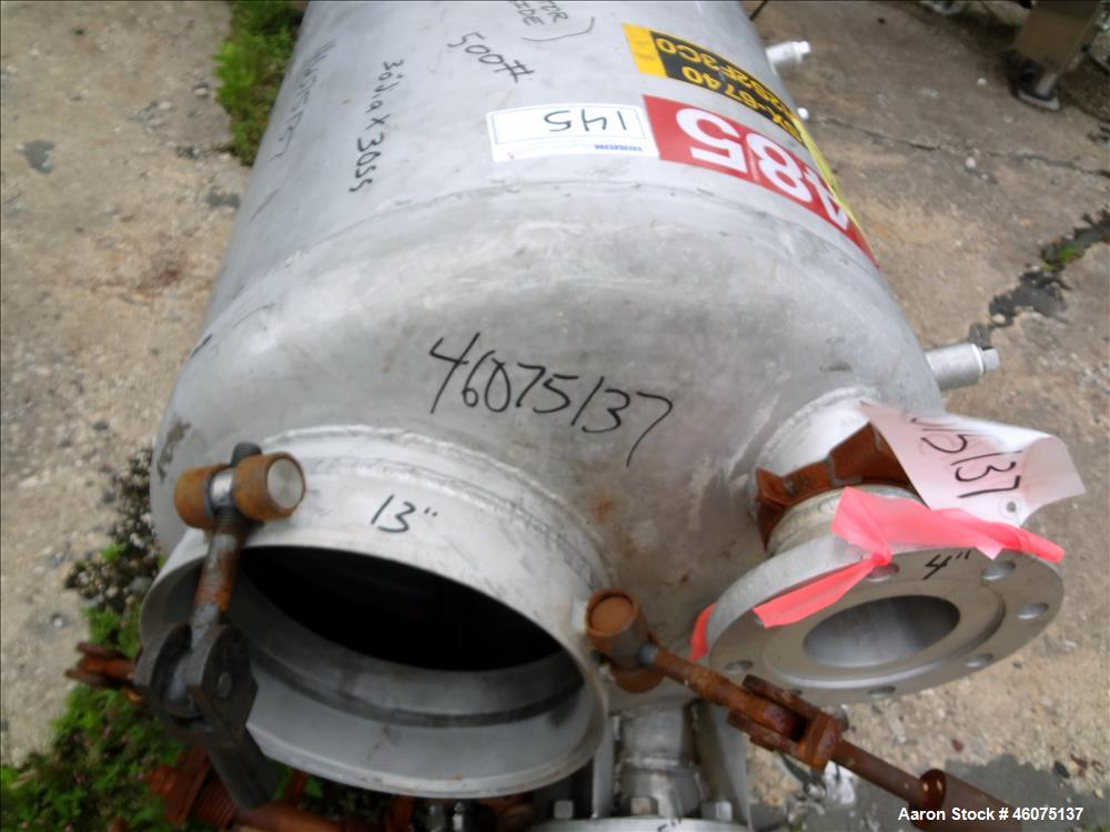 "Used- Tank, 100 Gallon, 304 Stainless Steel, Vertical. Approximate 30"" diameter x 30"" straight side, dished top and bottom. ..."