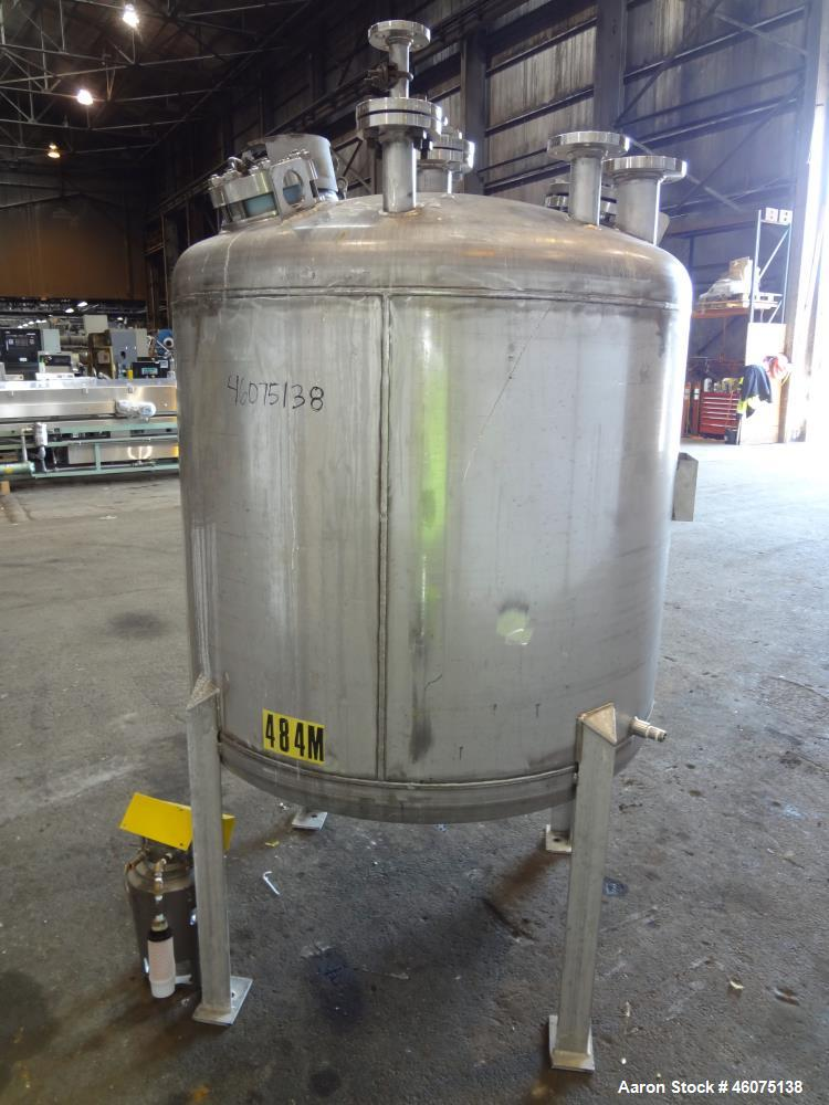 "Used- Tank, 325 Gallon, 316 Stainless Steel, Vertical. Approximate 48"" diameter x 38"" straight side, dished top & bottom. Of..."