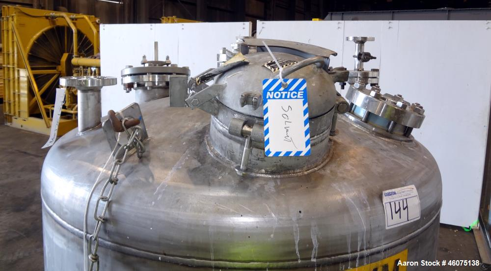 """Used- Tank, 325 Gallon, 316 Stainless Steel, Vertical. Approximate 48"""" diameter x 38"""" straight side, dished top & bottom. Of..."""