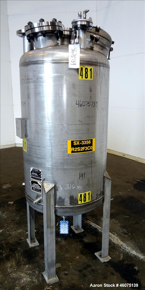 "Used- Tank, 100 Gallon, 316 Stainless Steel, Vertical. Approximate 26"" diameter x 43"" straight side, dished top & bottom. To..."