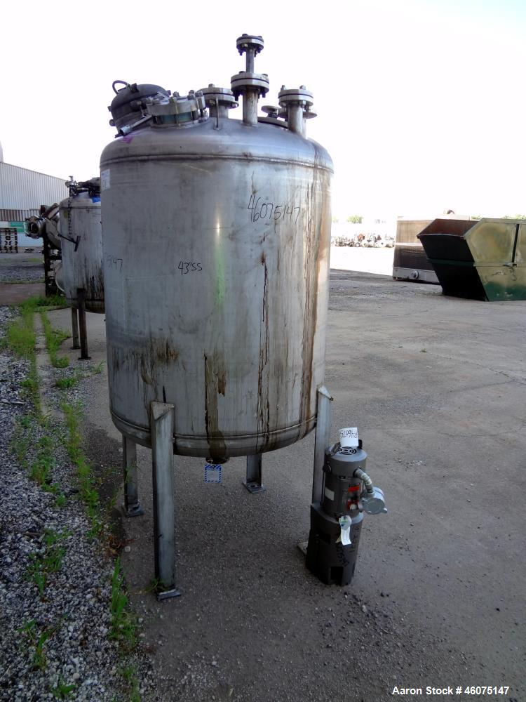 "Used- Tank, 275 Gallon, 316 Stainless Steel, Vertical. Approximate 42"" diameter x 43"" straight side, dished top & bottom. Of..."