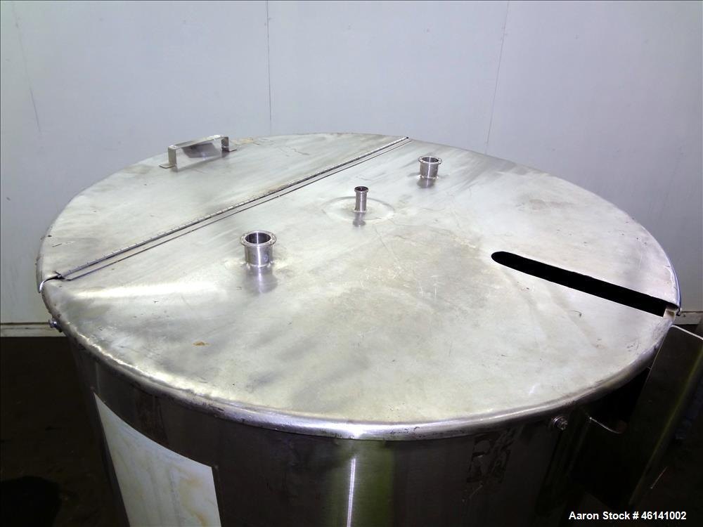 Used- Tank, Approximately 250 Gallon, 316 Stainless Steel, Vertical. Flat top with a 1/3 hinged top cover, slight coned bott...