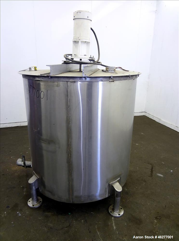 """Used- Tank, Approximately 320 Gallons, 304 Stainless Steel, Vertical. Approximately 45"""" diameter x 44"""" straight side. Flat t..."""