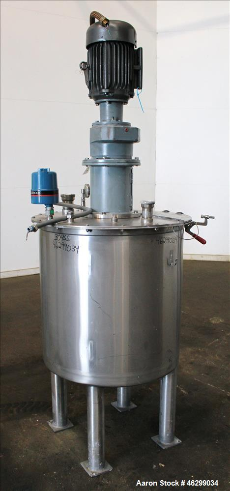 """Used- Tank, Approximately 80 Gallons, 304 Stainless Steel, Vertical. 30"""" Diameter x 28"""" straight side. Bolt-on flat top with..."""