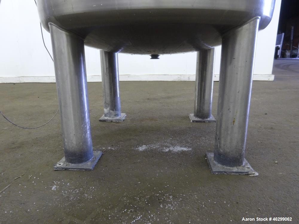 """Used- Tank, Approximately 120 Gallons, 304 Stainless Steel, Vertical. 40"""" Diameter x 22"""" straight side. Bolt-on flat top wit..."""