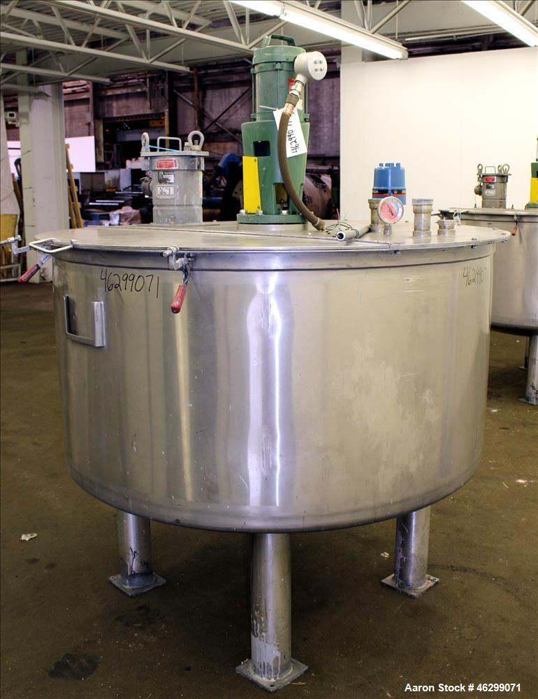 """Used- Tank, Approximately 350 Gallons, 304 Stainless Steel, Vertical. 60"""" Diameter x 28"""" straight side. Bolt-on flat top wit..."""