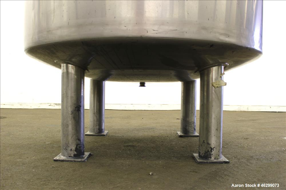 "Used- Tank, Approximate 350 Gallon, 304 Stainless Steel, Vertical. 60"" Diameter x 28"" straight side. Bolt on flat top with 1..."