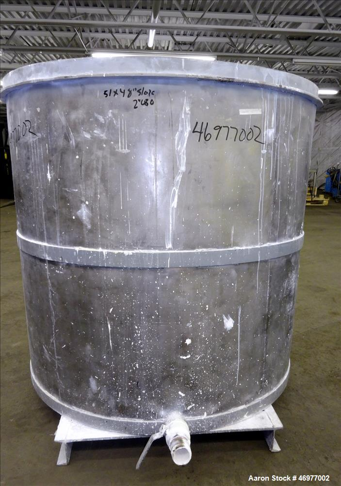 """Used- Tank, Approximate 400 Gallons, 304 Stainless Steel, Vertical. Approximate 50"""" diameter x 48"""" straight side. Open top, ..."""