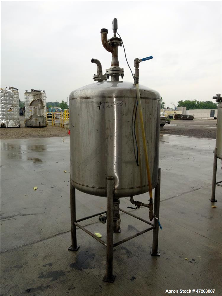 """Used- Tank, Approximate 150 Gallon, 304 Stainless Steel, Vertical. Approximate 38"""" diameter x 32"""" straight side, dished top ..."""