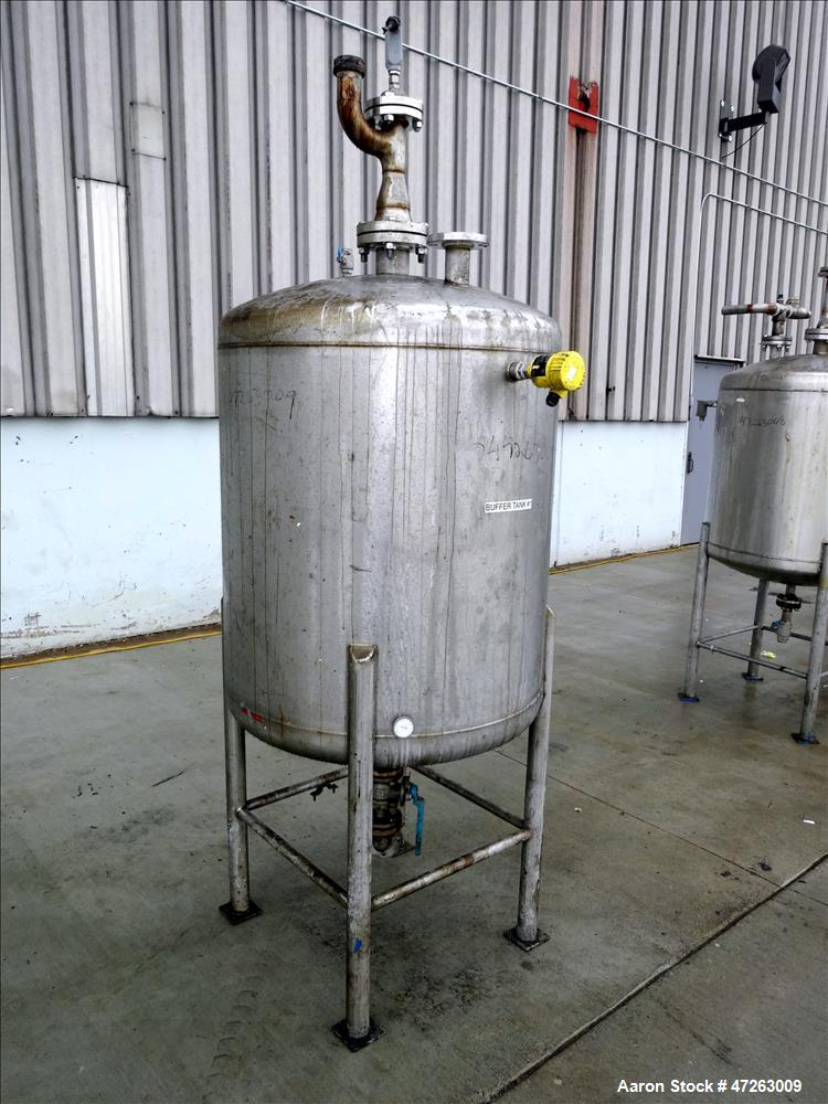 "Used- Tank, Approximate 120 Gallon, 304 Stainless Steel, Vertical. Approximate 30"" diameter x 36"" straight side, dished top ..."