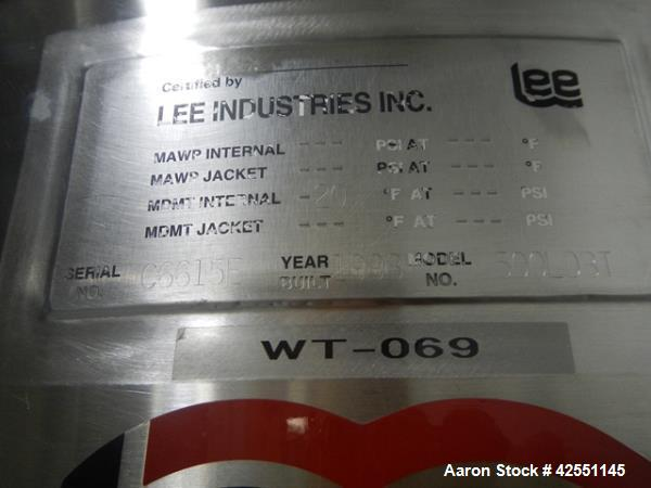 """Used- Lee tank, 130 gallon, model 500LDBT, stainless steel construction, approximately 36"""" diameter x 36"""" straight side, ope..."""
