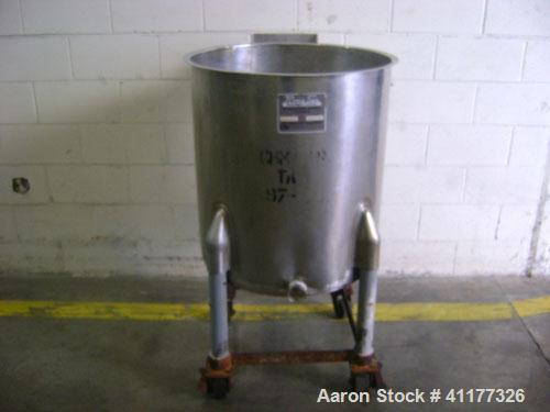 Used-Perma San 60 gallon stainless steel single wall portable tank. Open top with stainless steel mount for agitator (not in...