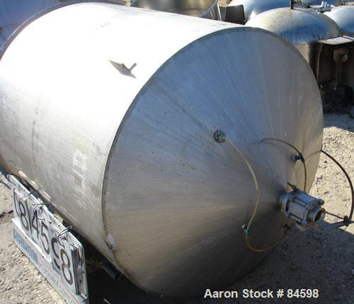"USED: Tank, 350 gallon, 304 stainless steel, vertical. 44"" diameter x 47"" straight side. Open top with no cover, coned botto..."