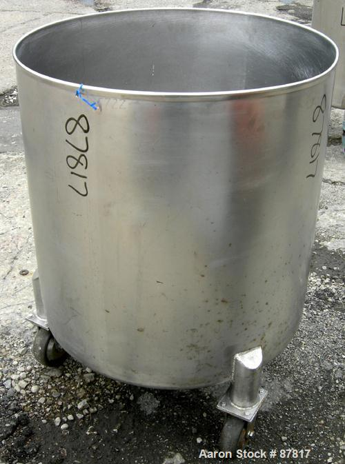 "USED: Tank, 100 gallon, 304 stainless steel, vertical. 30"" diameter X 30"" straight side, open top, no cover, dish bottom. 1""..."