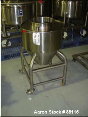 """Used- Tank, 20 Gallon, Stainless Steel, Vertical. 21"""" Diameter x 11"""" straight side x 12"""" coned bottom, flat top. 1"""" off cent..."""