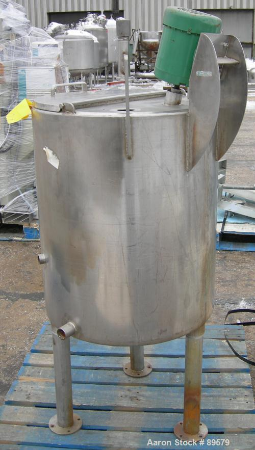 """USED: Tank, 55 gallon, 304 stainless steel, vertical. 24"""" diameter x 29"""" straight side. Flat top with a 1/2 hinged cover, sl..."""