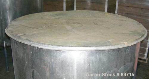 """USED: Tank, 225 gallon, 304 stainless steel, vertical. 38"""" diameter x 48"""" straight side, open top with cover, flat bottom. A..."""