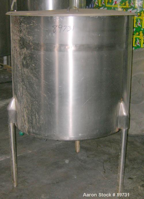 "USED: Tank, 175 gallon, 304 stainless steel, vertical. 38"" diameter x 35"" straight side, open top with cover, sloped bottom...."