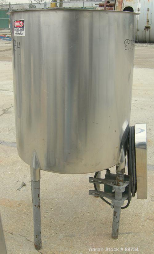 "USED: Tank, 120 gallon, 304 stainless steel, vertical. 31"" diameter x 36"" straight side, open top, no cover, coned bottom. A..."