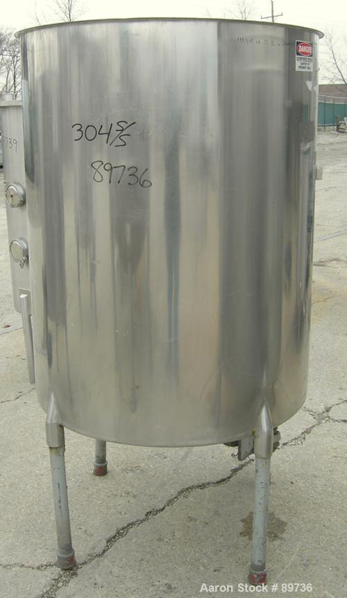 """USED: Tank, 225 gallon, 304 stainless steel, vertical. 38"""" diameter x 48"""" straight side, open top, no cover, flat bottom. Ap..."""
