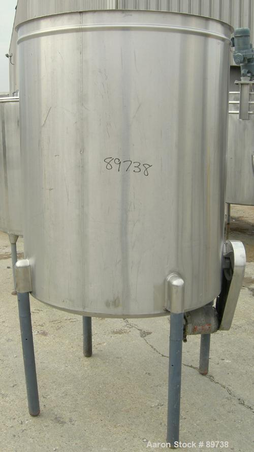 """USED: Tank, 300 gallon, 304 stainless steel, vertical. 42"""" diameter x 51"""" straight side, open top, no cover, sloped bottom. ..."""