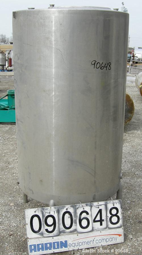 """USED: Tank, 290 gallon, 304 stainless steel, vertical. Approximate38"""" diameter x 60"""" straight side. Flat top, sloped bottom...."""