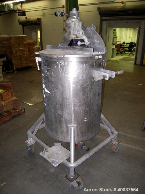 "Used- Acme Tank, 95 gallon, stainless steel, vertical. 28"" diameter x 36"" straight side, rated atmo at 325 deg.f.. Open top ..."