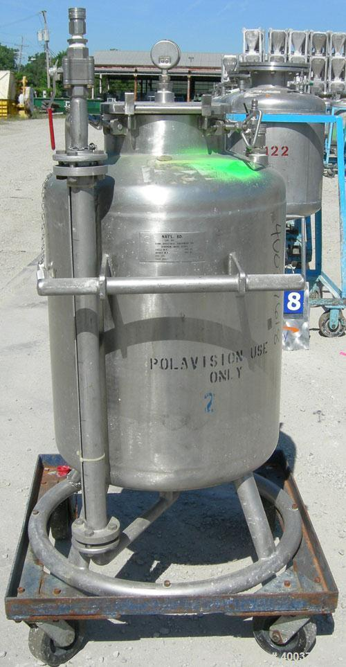 """Used- Acme Pressure Tank, 40 gallon, 304 stainless steel, vertical. 22"""" diameter x 24"""" straight side, dished top and bottom...."""