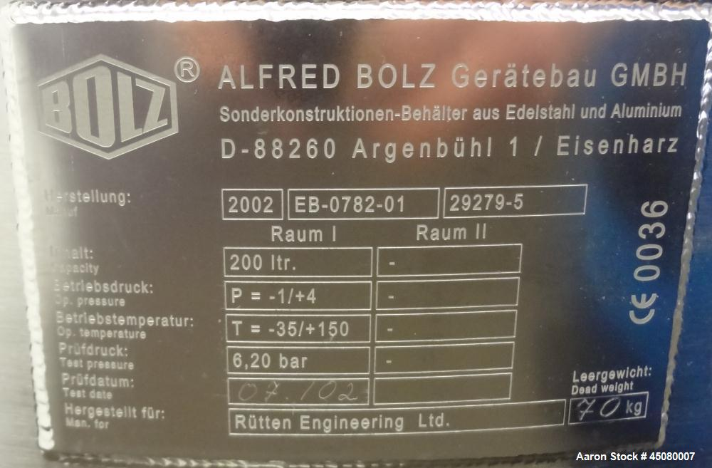 Used- 200 Liter Stainless Steel Alfred Bolz Pressure Tank