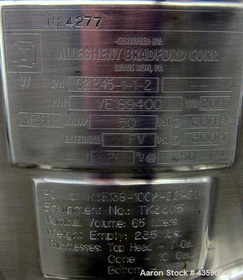 Used- 65 Liter Stainless Steel Allegheny Bradford Coned Pressure Tank