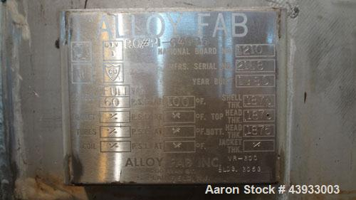 """Used- Alloy Fab Pressure Tank, 300 Gallons, 316L Stainless Steel, Vertical.  42"""" Diameter x 47"""" straight side, dish top and ..."""