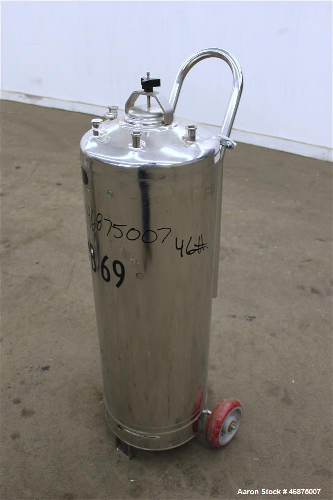 "Used- Alloy Products Tank, 60 liters (15.8 Gallon), 316 Stainless Steel, Vertical. Approximate 12"" diameter x 29"" straight s..."