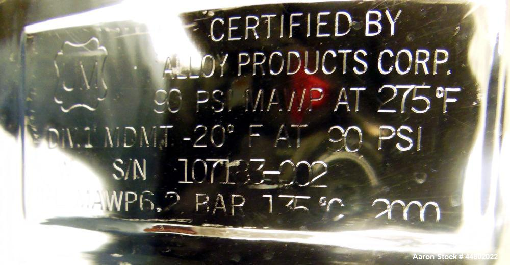 Used- 39 Gallon Stainless Steel Alloy Products Pressure Tank