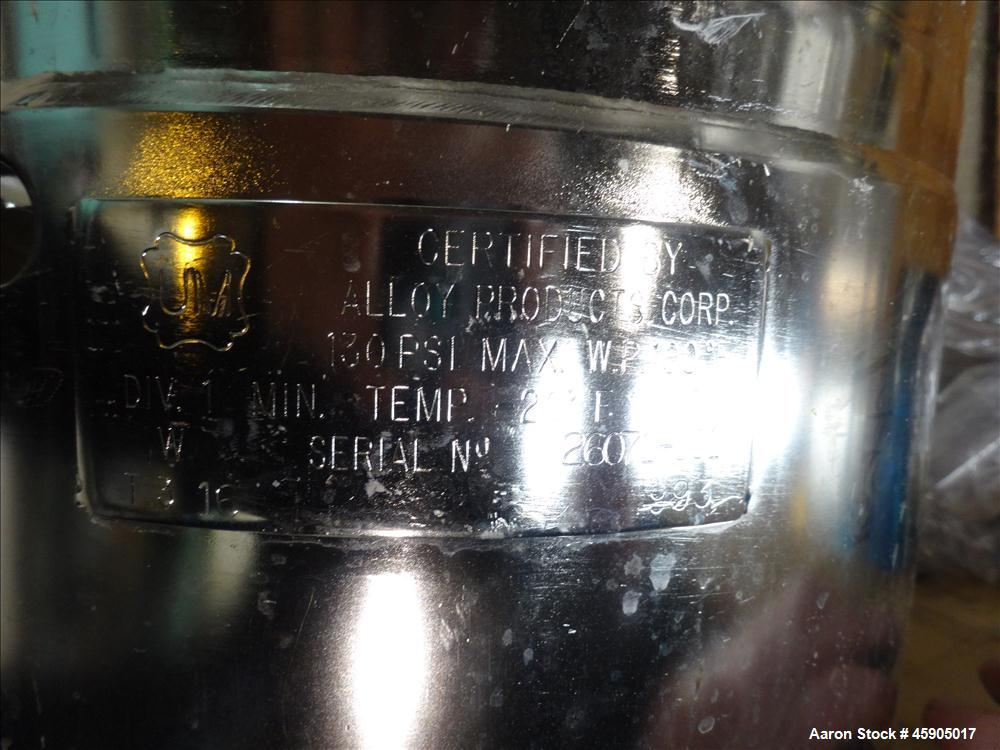 """Used- Alloy Products Pressure Tank, 6 Gallon, 316L Stainless Steel, Vertical. Approximate 12"""" diameter x 13"""" straight side, ..."""