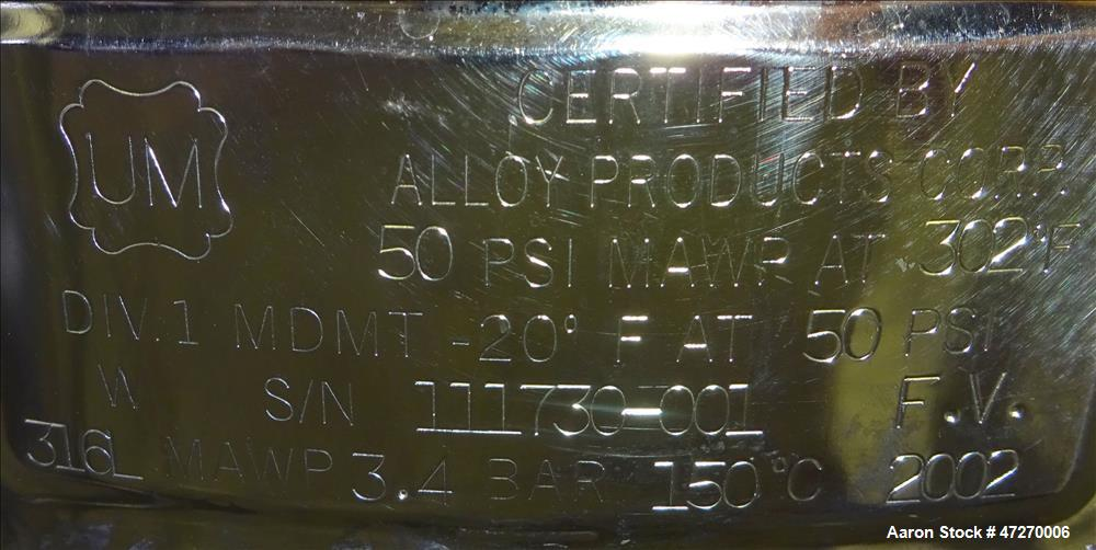 Used- Alloy Products Pressure Tank, Approximate 15.8 Gallons (60 Liters), 316L S