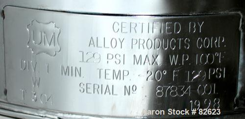 """USED: Alloy Products pharmaceutical-hygienic portable pressure tank, 6 gallons, 304 stainless steel, vertical. 12"""" diameter ..."""