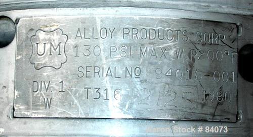 Used- 6 Gallon Stainless Steel Alloy Products Pressure Tank