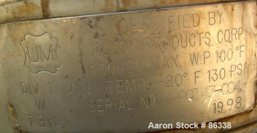 """USED: Alloy Products pressure tank, 16 gallon, 304 stainless steel, vertical. 12"""" diameter x 28"""" straight side. Dish top and..."""