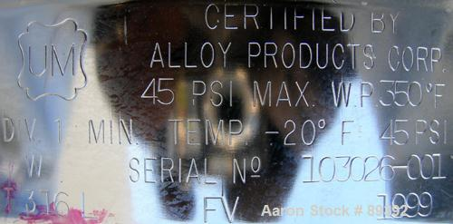 """USED: Alloy Products pressure tank, 13 gallon, 316 stainless steel, vertical. 12"""" diameter x 19"""" straight side. Dished top a..."""