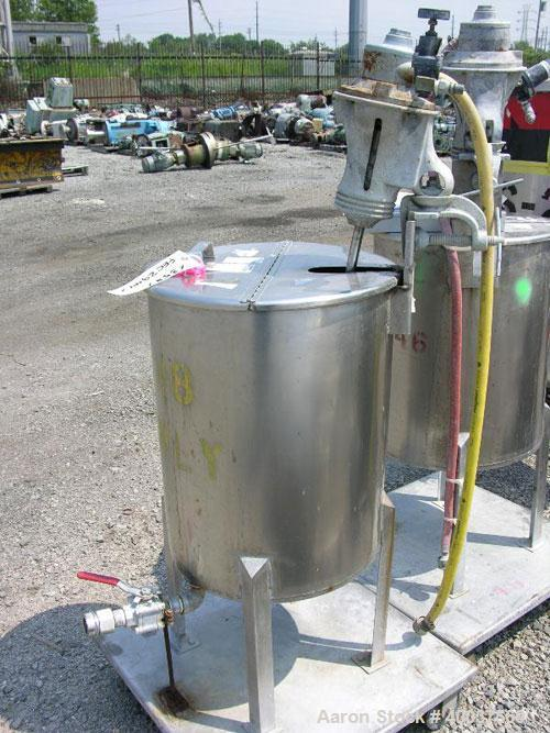 Used- Alsop Tank, 25 gallon, stainless steel, vertical. 18'' diameter x 22'' straight side. Open top with a 1/2 hinged cover...