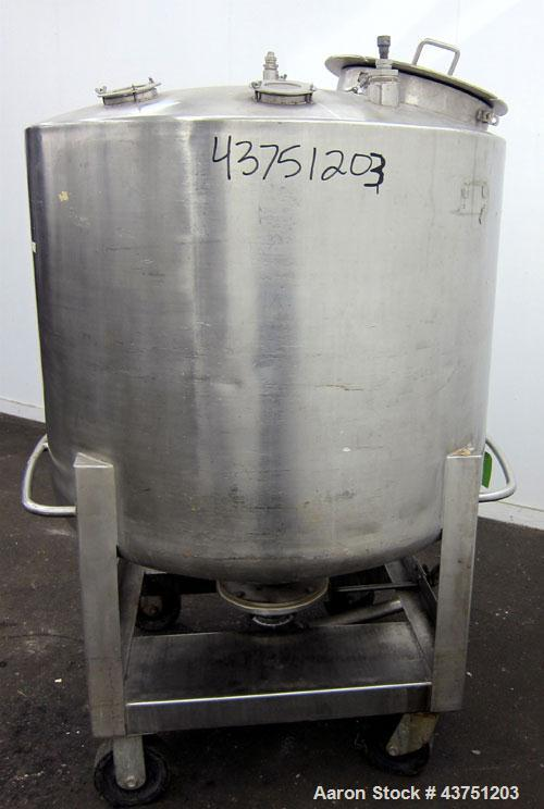 """Used- C.E. Howard Tank, 335 Gallon, 304 Stainless Steel, Vertical. 48"""" Diameter x 36"""" straight side. Dished top, coned botto..."""